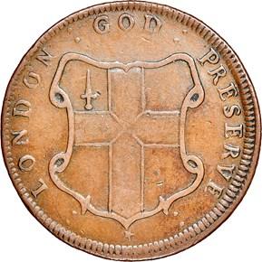 c.1694 DIAG ELEPHANT GOD PRESERVE LONDON TOKEN MS reverse