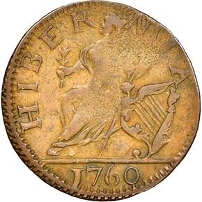 1760 LARGE LETTERS HIBERNIA-VOCE POPULI 1/4P MS reverse