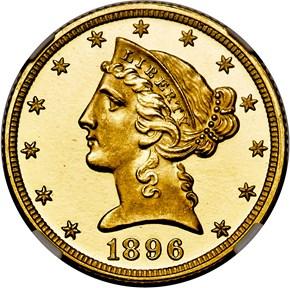 1896 $5 PF obverse