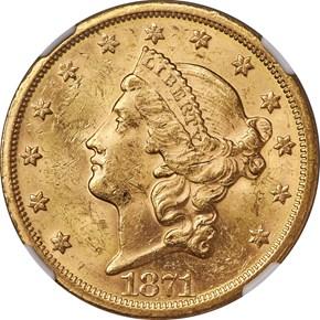 1871 S $20 MS obverse