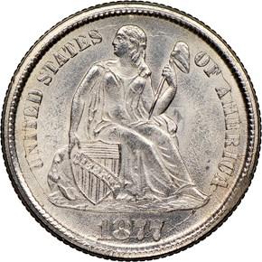 1877 CC 10C MS obverse