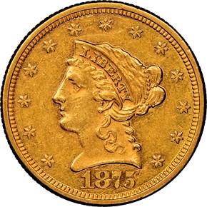1875 $2.5 MS obverse