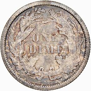 1866 S 10C MS reverse