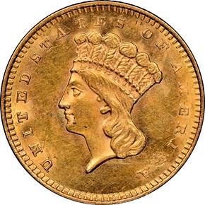 1857 S G$1 MS obverse