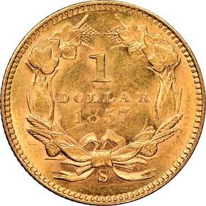 1857 S G$1 MS reverse