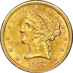 1872 S $5 MS obverse