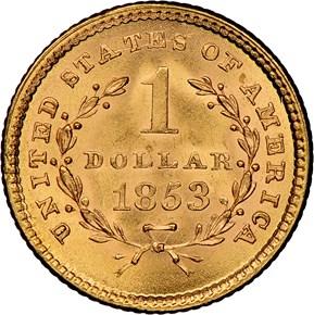 1853 G$1 MS reverse