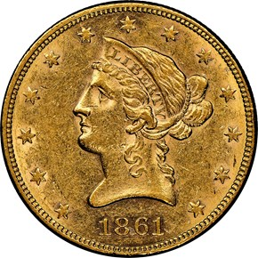 1861 $10 MS obverse