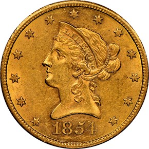 1854 S $10 MS obverse