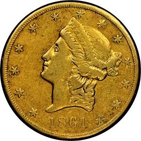 1861 CLARK, GRUBER & CO. $20 MS obverse