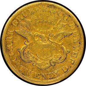 1861 CLARK, GRUBER & CO. $20 MS reverse