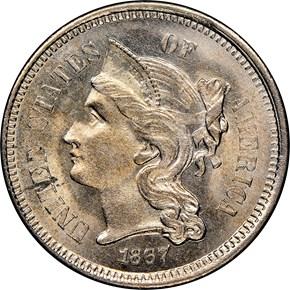 1867 3CN MS obverse