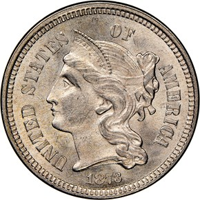 1873 CLOSED 3 3CN MS obverse