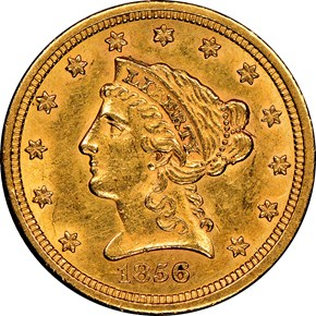 1856 S $2.5 MS obverse