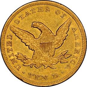 1855 O $10 MS reverse