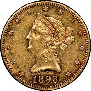1893 CC $10 MS obverse