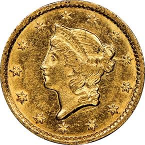 1853 C G$1 MS obverse