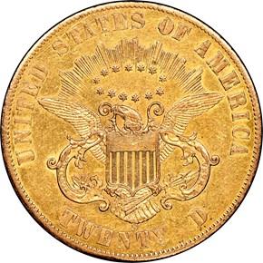 1861 S PAQUET $20 MS reverse