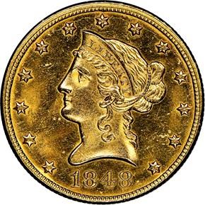 1848 $10 MS obverse