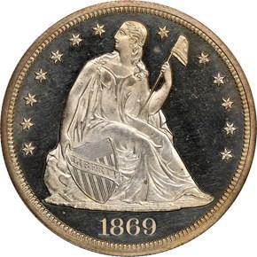 1869 $1 PF obverse
