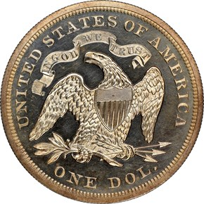 1869 $1 PF reverse