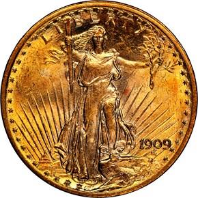 1909 $20 MS obverse