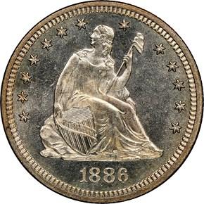 1886 25C MS obverse