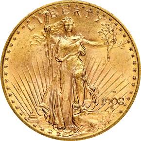 1908 D MOTTO $20 MS obverse