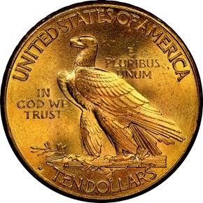 1914 D $10 MS reverse