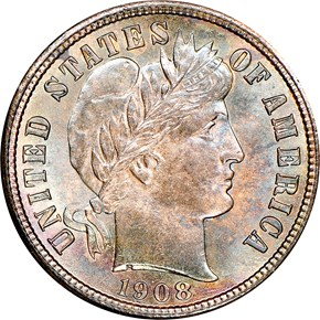 1908 S 10C MS obverse