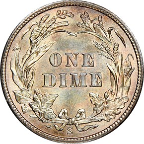 1908 S 10C MS reverse