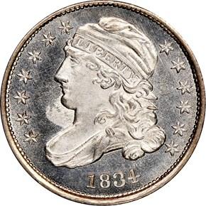 1834 10C MS obverse