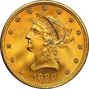 1899 $10 MS obverse