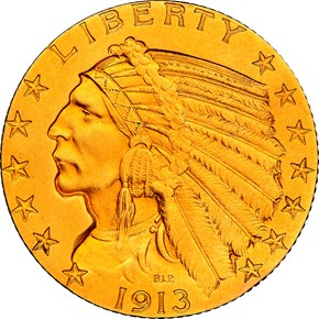 1913 $5 PF obverse