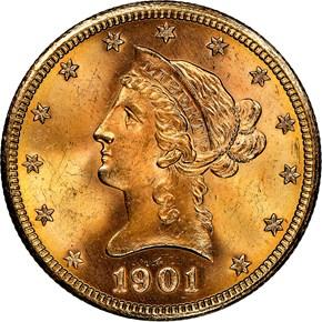 1901 S $10 MS obverse
