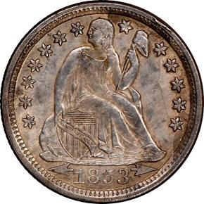 1853 ARROWS 10C MS obverse