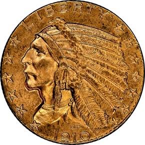 1910 $5 MS obverse