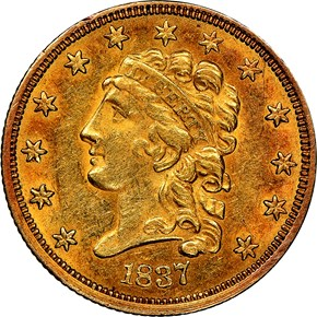 1837 $2.5 MS obverse