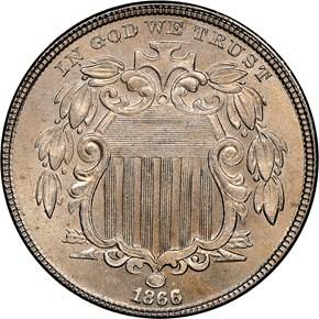 1866 RAYS 5C MS obverse