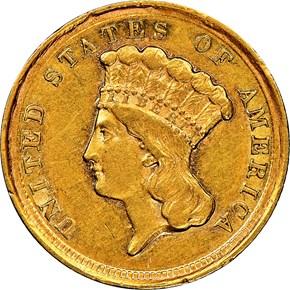 1854 D $3 MS obverse