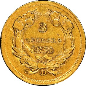 1854 D $3 MS reverse