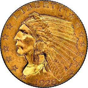 1928 $2.5 MS obverse