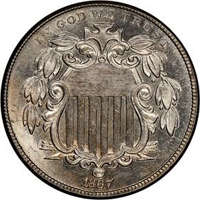 1867 NO RAYS 5C MS obverse