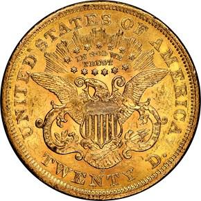 1867 S $20 MS reverse