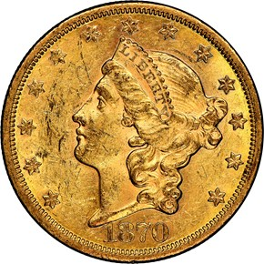 1870 S $20 MS obverse