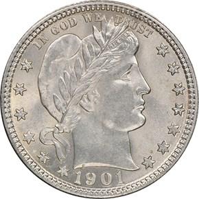 1901 25C MS obverse