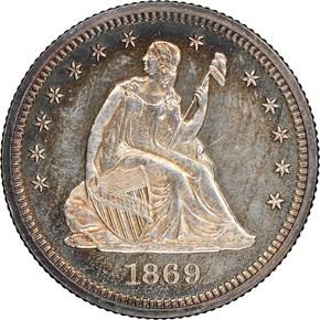 1869 25C PF obverse