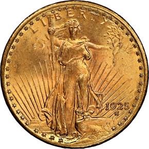 1925 $20 MS obverse