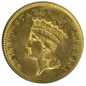 1858 $3 MS obverse