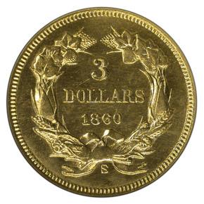1860 S $3 MS reverse